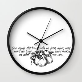 Who we are travel quote + boots illustration Wall Clock