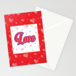 Love Poster. Hearts Pattern. Love. Red Pink Hearts. Valentine. Red Background Stationery Cards