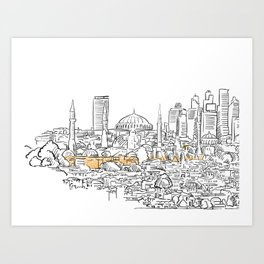 Modern and old Istanbul panorama drawing Art Print