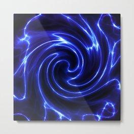 Blue Glowing Swirl Abstract Metal Print