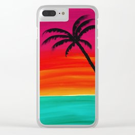 Sunset Palm 2 Clear iPhone Case