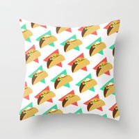 taco Throw Pillows featuring TACO TIME!  by Kaitlin Smith