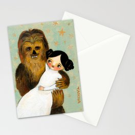 Princess Leia and Chewbacca painting by tascha parkinson Stationery Cards