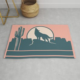 Howling at the Moon Landscape 233 Beige Green and Dusty Rose Rug