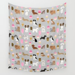 Small Dog Breeds with ice creams summer fun for the pet lover dog person in your life Wall Tapestry