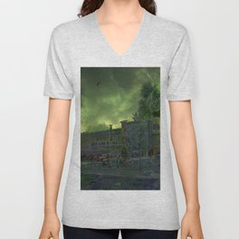 Post Apocalyptic Royton NHS Doctors Building Unisex V-Neck