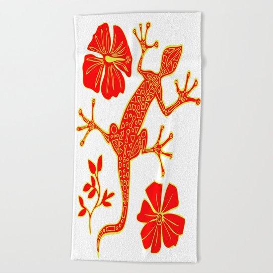Tribal Lizard Design #1 Beach Towel