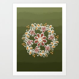 Hungarian floral wreath pattern: Spring Art Print