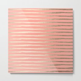 Abstract Stripes Gold Coral Pink Metal Print