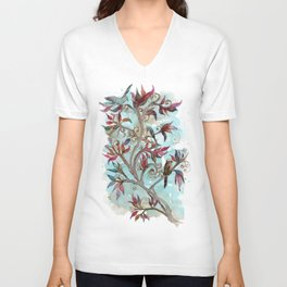 Little Birds On The Tree Branches. Unisex V-Neck