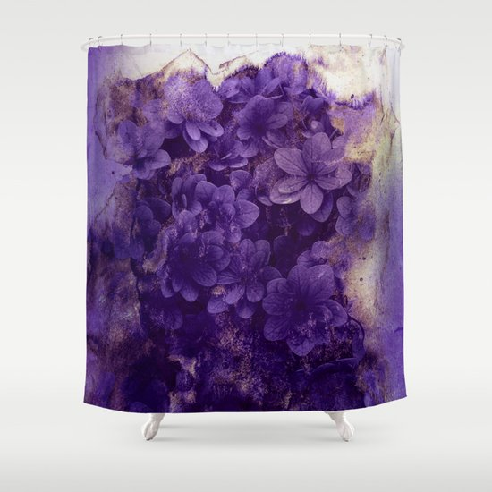 purple flowers shower curtain by clemm society6