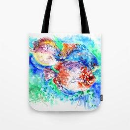 Underwater Scene Artwork, Discus Fish, Turquoise blue pink aquatic design Tote Bag