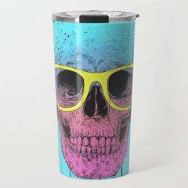 Pop art skull with glasses Travel Mug