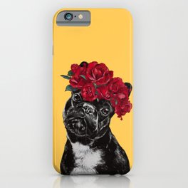 French Bulldog with Rose Flower Crown in Yellow iPhone Case