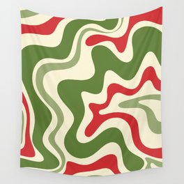 Retro Christmas Swirl Abstract Pattern in Olive Green, Sage, Xmas Red, and Cream Wall Tapestry