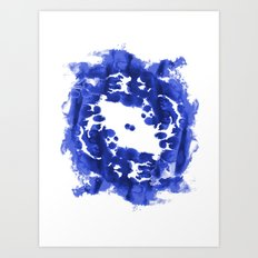 Blue Circle abstract painting enso minimal modern home office dorm college decor Art Print
