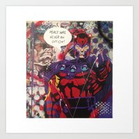 magneto Art Prints featuring magneto by Marly_mcfly87