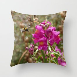 Bumblebee landing on Dragon skull Throw Pillow