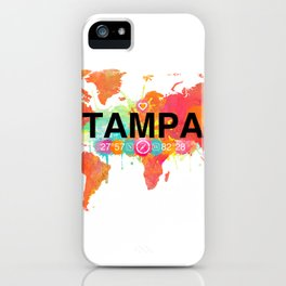 Vivid Watercolor Tampa Florida Map iPhone Case