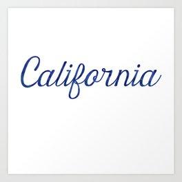 California Script Watercolor Art Print