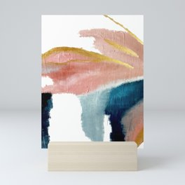Exhale: a pretty, minimal, acrylic piece in pinks, blues, and gold Mini Art Print