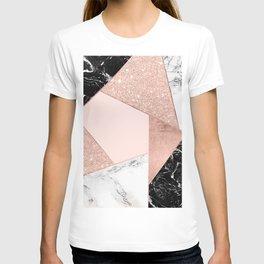 Modern rose gold glitter black white marble geometric color block T-shirt