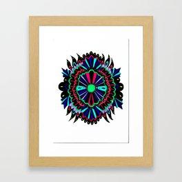 Neon Lace Peony Framed Art Print