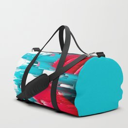 turquoise coral white abstract digital painting Duffle Bag
