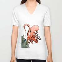 writer V-neck T-shirts featuring Octopus Writer by Zekis Art