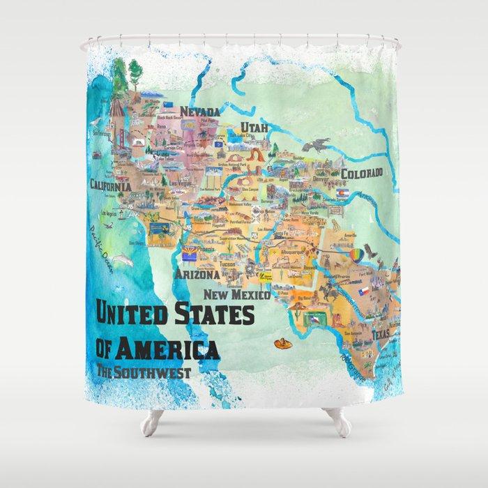USA Southwest States Travel Poster Map - CA, AZ, NM, TX, NV, UT, CO Shower  Curtain by artshop77