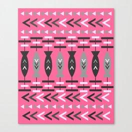 Aztec fish pattern-magenta Canvas Print
