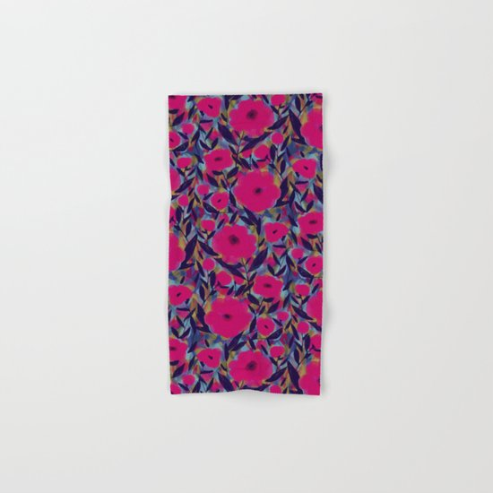 Layered Leaf Floral Fuchsia Hand & Bath Towel