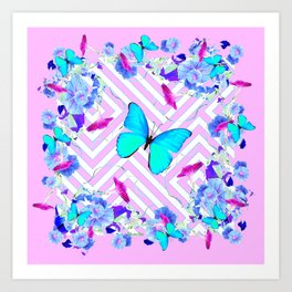 Turquoise Blue Butterflies Morning Glories Abstract Pattern Art Print