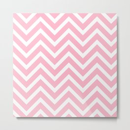 Chevron Stripes : Pink & White Metal Print