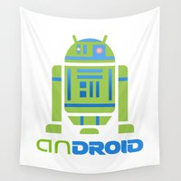 android Wall Tapestries featuring R2D2 + Mobile OS = anDROID by TrendReverb
