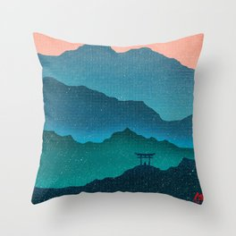 Meditating Samurai Throw Pillow