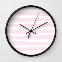 Pink handpainted stripes on clear white Wall Clock