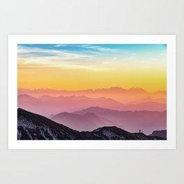 sky blue yellow orange purple Art Print