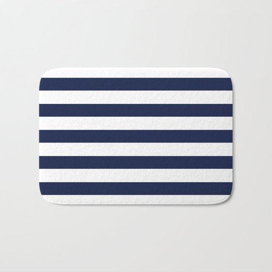 Nautical Navy Blue and White Stripes Bath Mat