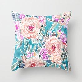 WAHINE WAYS Aqua Tropical Floral Throw Pillow