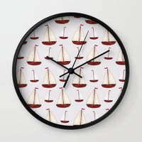 ships Wall Clocks featuring Ships by Stephanie Says