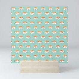 Kawaii cute Salmon Sushi on Mint Green Background Sushi Lover Japan Lover Mini Art Print
