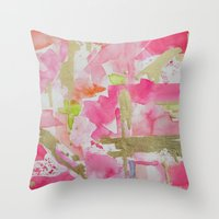moulin rouge Throw Pillows featuring Rouge by Limezinnias Design