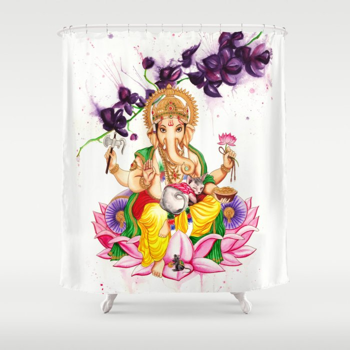 Ganesha And Candy Shower Curtain By Psyca