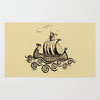 rowing Area & Throw Rugs featuring Viking ship 2 by mangulica