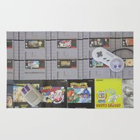 nintendo Area & Throw Rugs featuring Super Nintendo by Kelsey Spinn