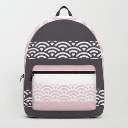 Rainbow Trim Pale Pink Backpack