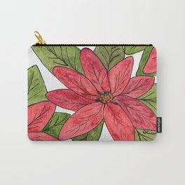 Poinsettia Watercolor and Ink Carry-All Pouch