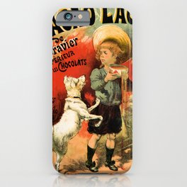 Vintage French hot chocolate advert, boy, white dog iPhone Case