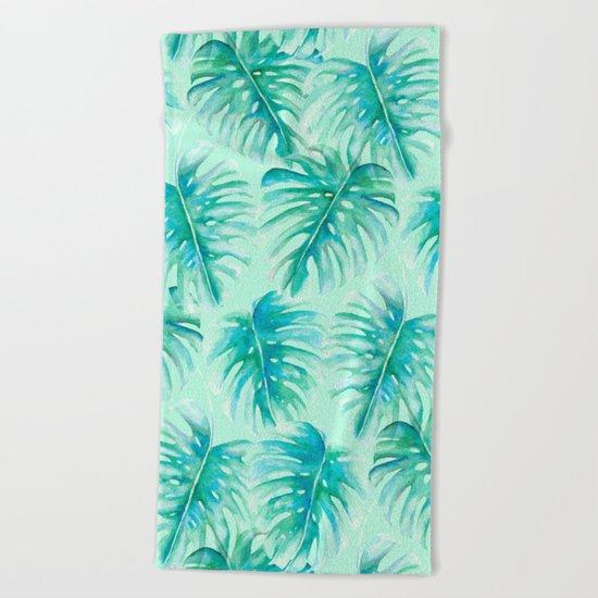 Paradise Palms Mint Beach Towel